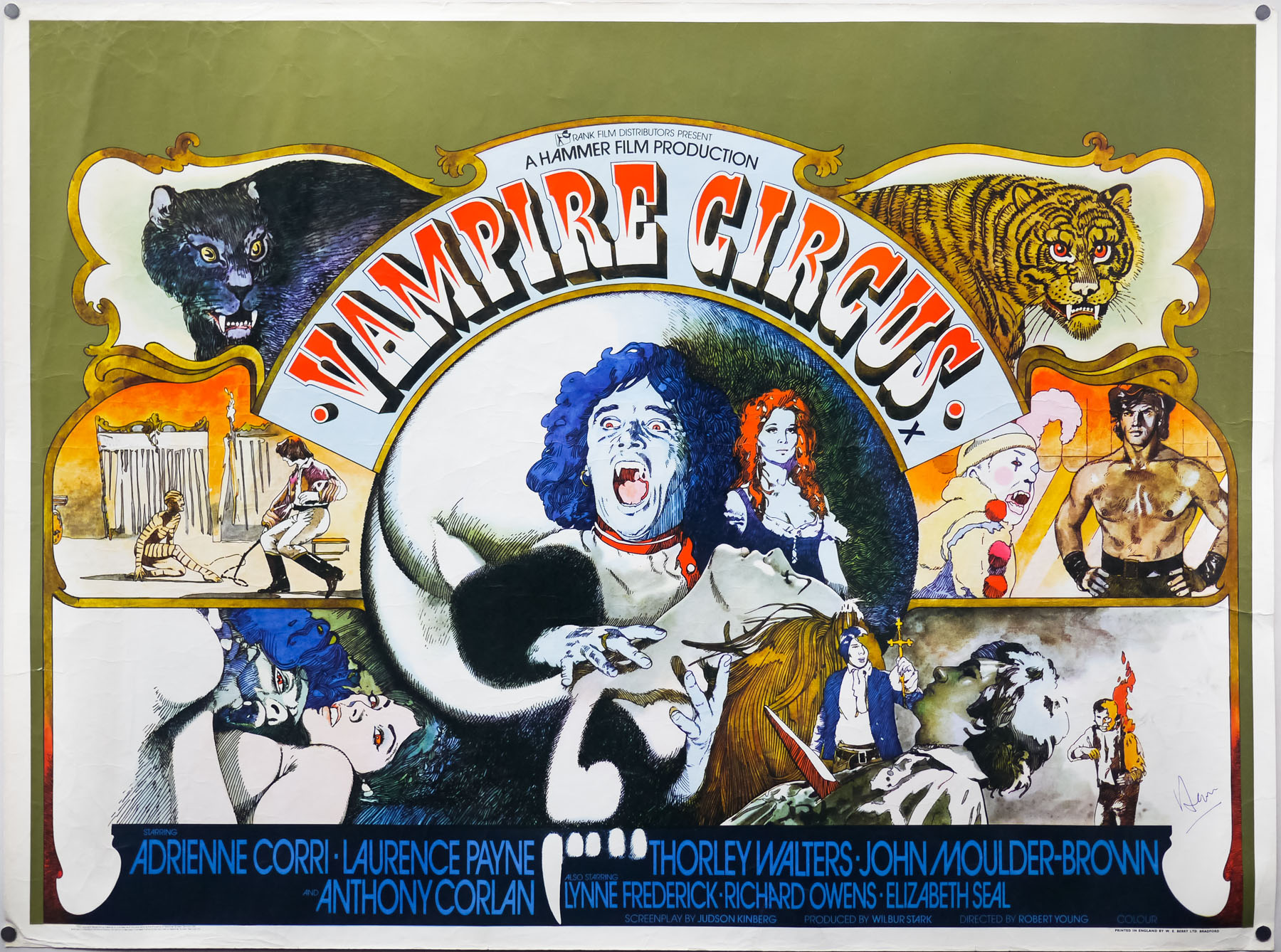 The final printed quad for Hammer films' Vampire Circus, designed and illustrated by Vic Fair, 1972