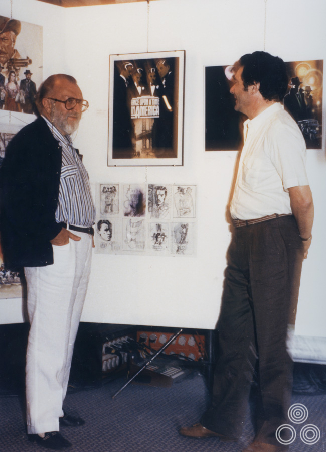 Renato Casaro talks to Sergio Leone about the poster designs for Once Upon A Time in America, 1984