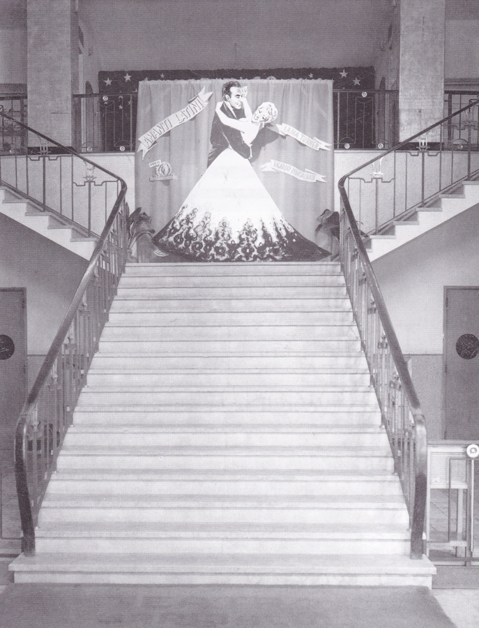The central staircase of Treviso's Cinema Garibaldi in the 1950s.