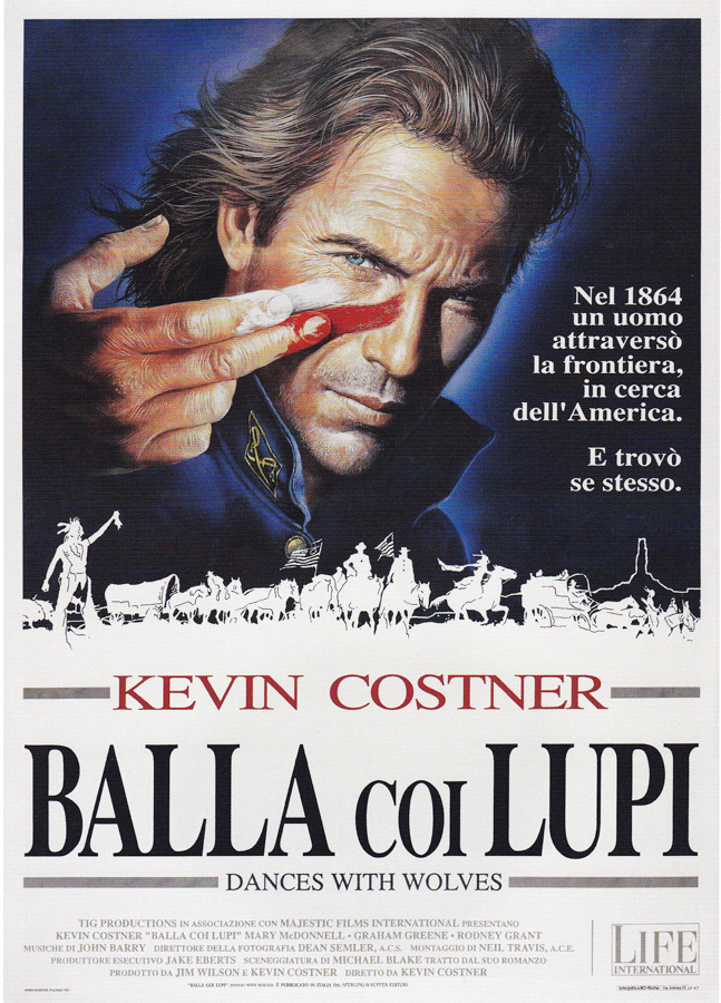 The Italian poster for Kevin Costner's Dances With Wolves (1990), designed and painted by Renato Casaro.