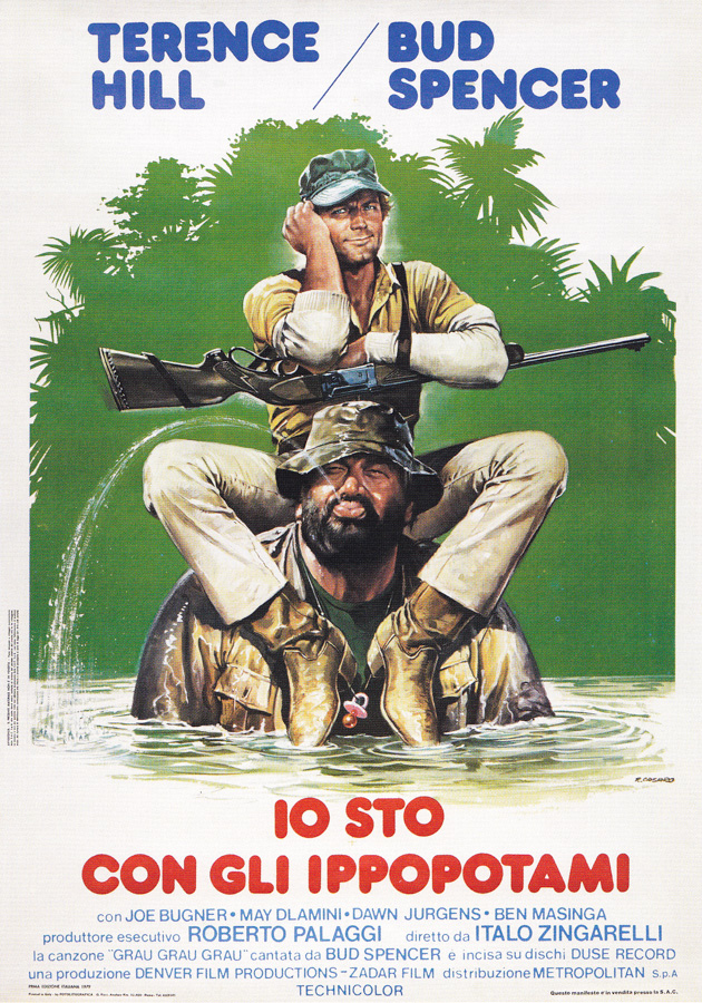 The Italian poster for Io Sto Con Gli Ippopotami, starring Terence Hill and Bud Spencer. Designed and painted by Renato Casaro, 1979.