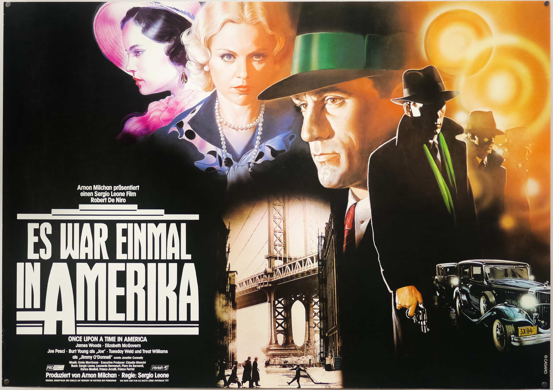 The style A German poster for the release of Sergio Leone's Once Upon a Time in America, designed and painted by Renato Casaro, 1984
