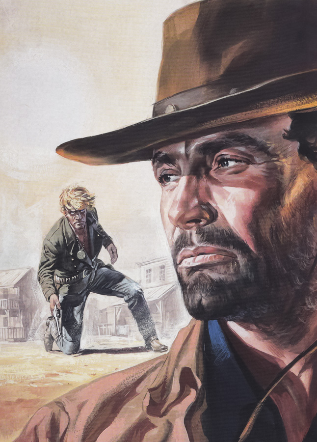 The original artwork for the Italian poster of Pochi Dollari for Django (Few Dollars for Django), painted by Renato Casaro in 1966.
