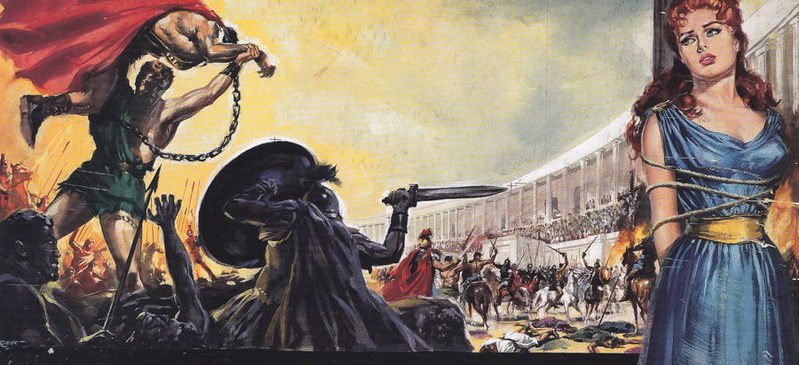 Artwork painted for the Italian release of La Rivolta Degli Schiavi (The Revolt of the Slaves) by Renato Casaro, 1960