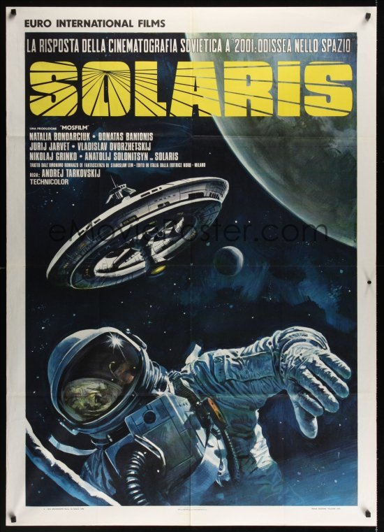 The style B Italian poster for Andrei Tarkovsky's Solaris, designed and painted by Renato Casaro, 1974. Image taken from Emovieposter.com