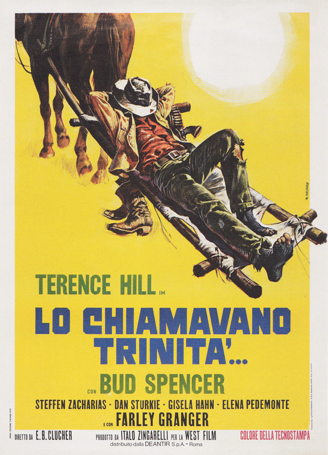 The Italian poster for La Chiamavano Trinita (They Call Me Trinity), designed and painted by Renato Casaro in 1970.
