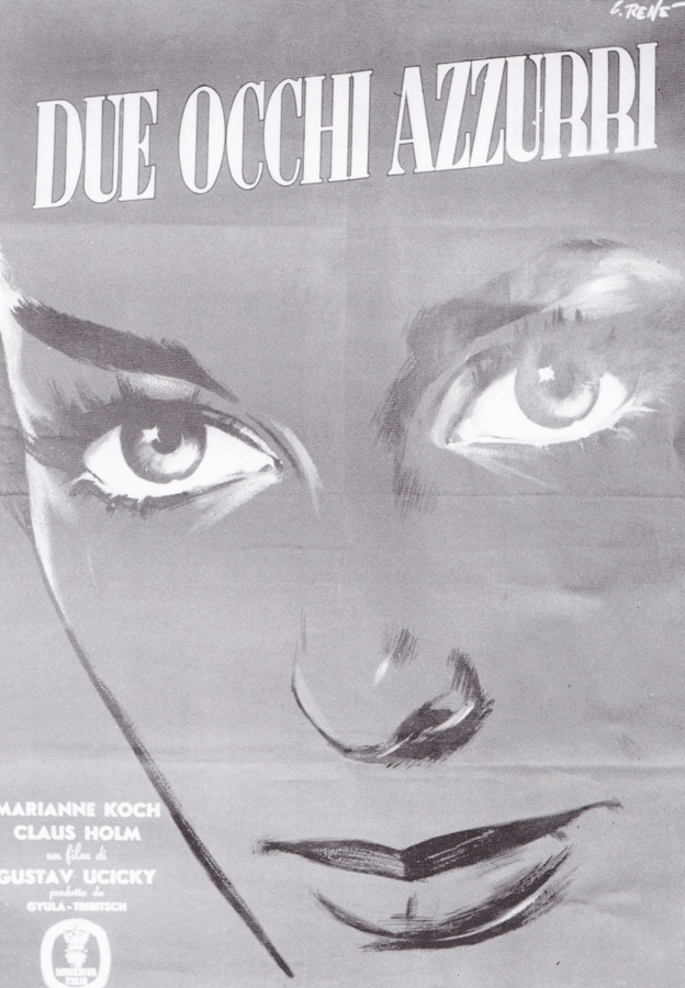 The Italian poster for Two Blue Eyes, painted by Renato Casaro circa 1956. This was the artist's first ever printed poster.