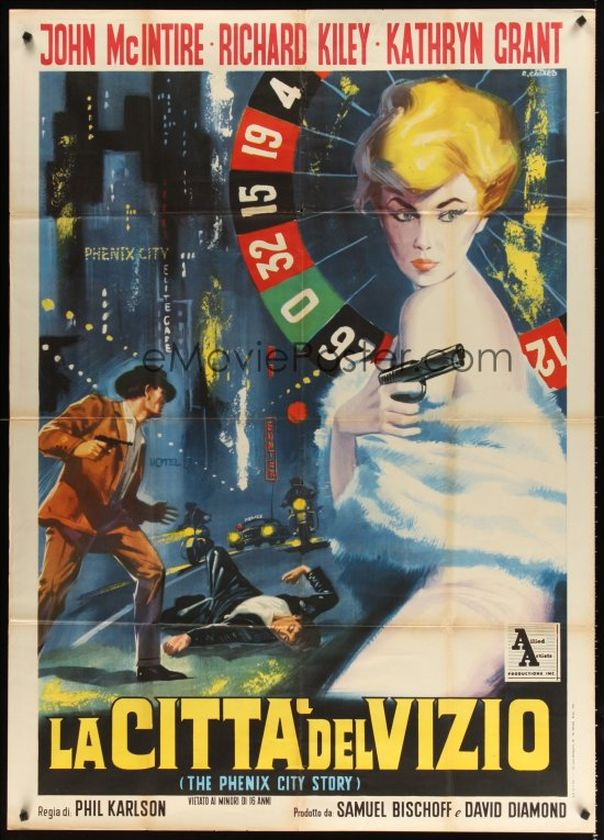 The Italian one panel (2-fogli) poster for La Citta Del Vizio (AKA The Phenix City Story, designed and painted by Renato Casaro, circa 1961.