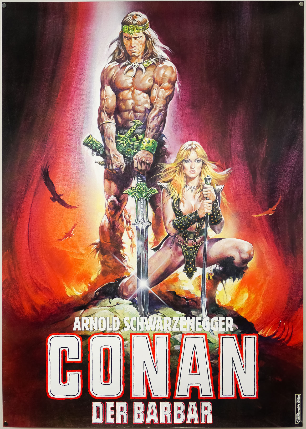 The German teaser poster for Conan the Barbarian, designed and painted by Renato Casaro, 1982. The German distributors asked Renato to adapt the poster slightly from his original artwork used on the American one sheet.