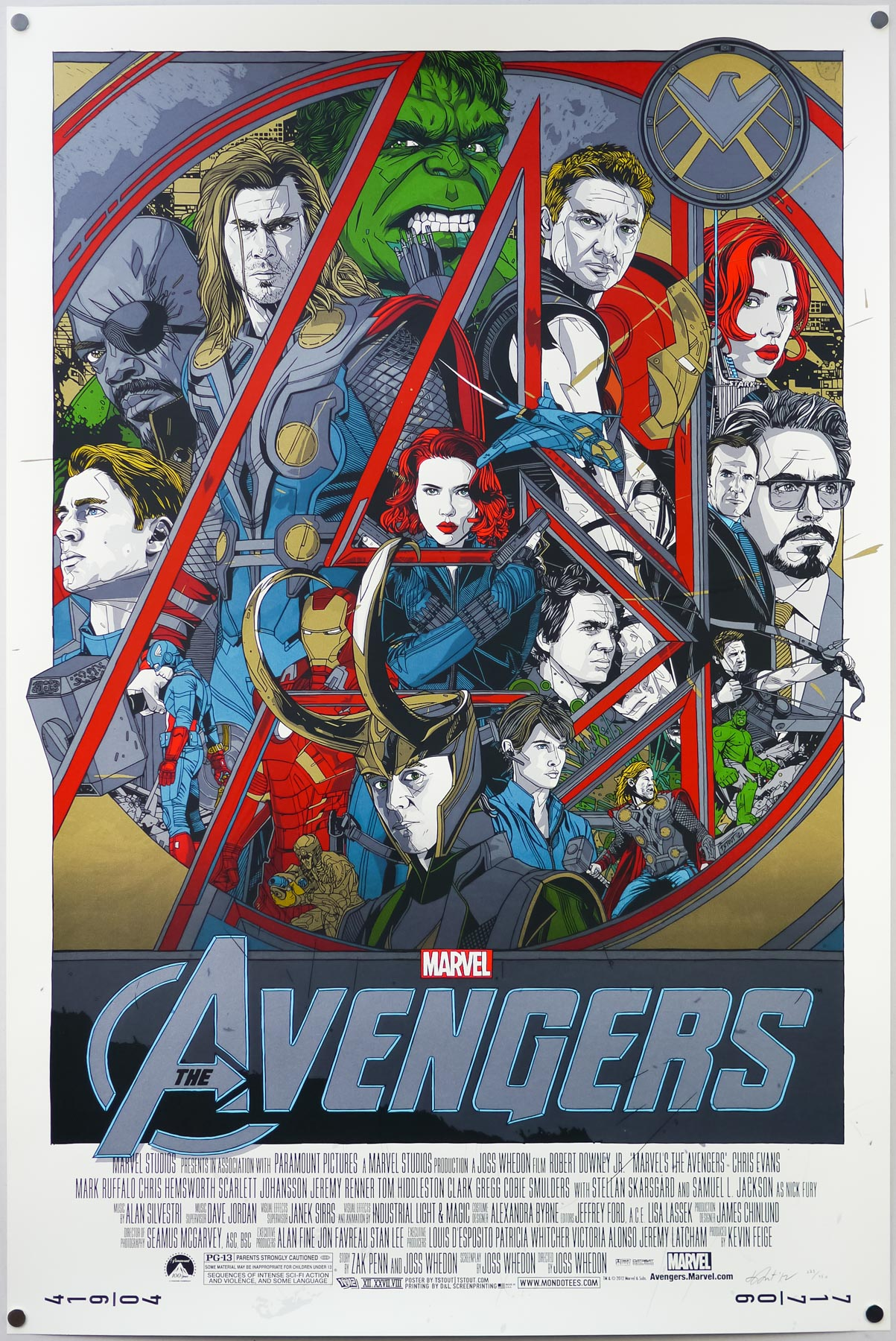 The regular version of Tyler Stout's screen print for The Avengers, 2012