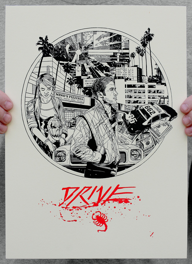 A letterpress of an earlier, unused poster for Drive (2011) that was designed by Tyler and from which he 'borrowed' the background cityscape for the Avengers print.