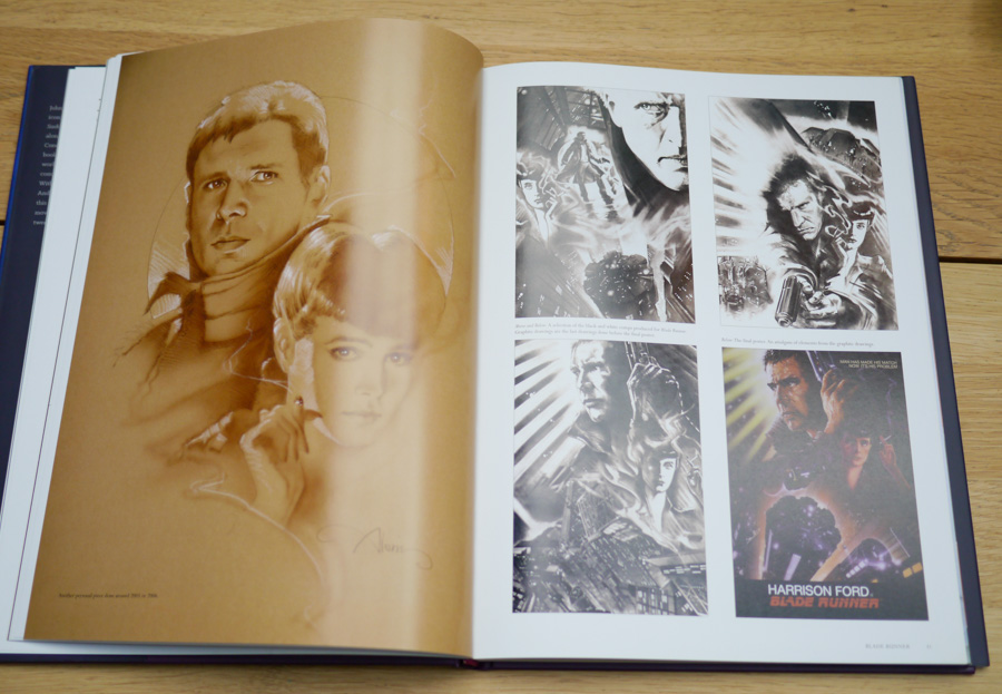Two pages of the Blade Runner section featuring original graphite sketches on the right and a more recent illustration on the left.