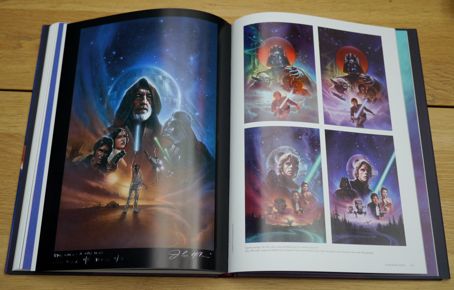 The book also features non-cinema artworks, including these for the VHS release of the original Star Wars trilogy.