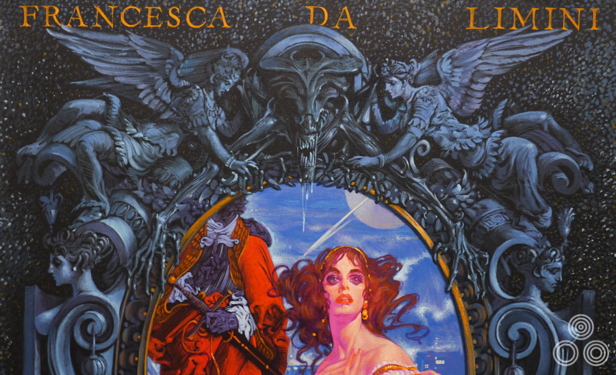 Close-up of Francesca Da Limini, one of the Beauties in Myths that Noriyoshi Ohrai painted for a series of SF Magazine covers. This illustrates some of the detail that Ohrai put into the work, like this cheeky Alien queen at the top.