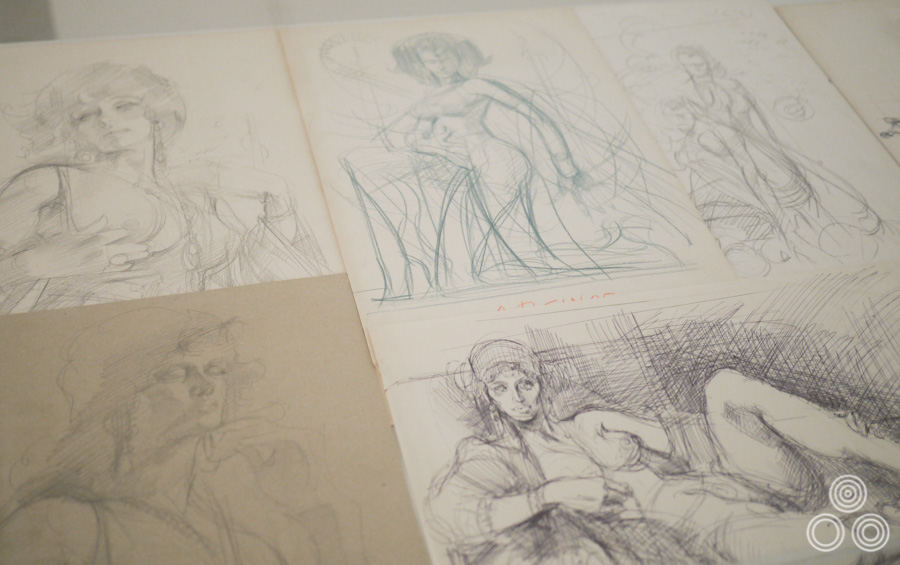 Sketches for some of the Beauties in Myths that Noriyoshi Ohrai painted for a series of SF Magazine covers.