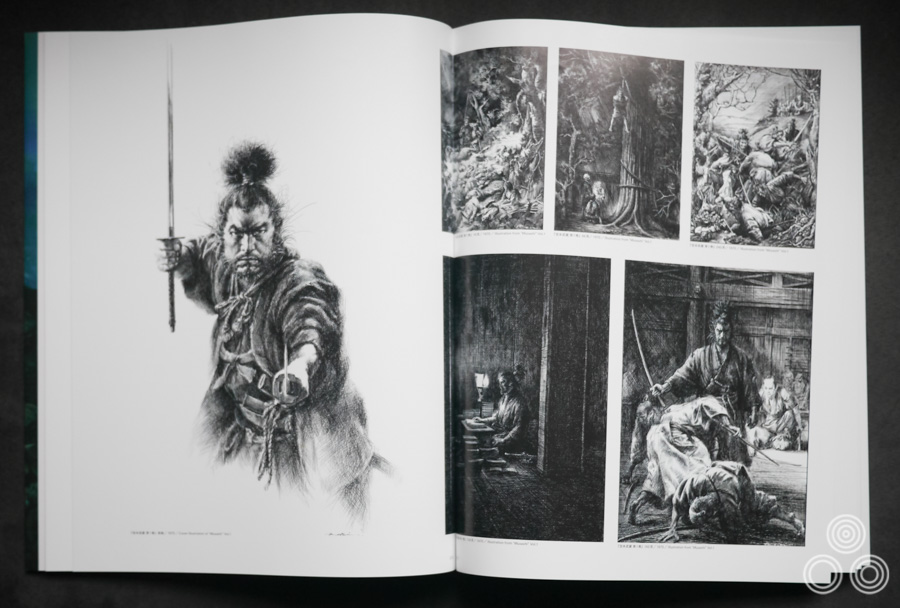 Several paintings by Ohrai that were painted for covers of books based on the life of Miyamoto Musashi. All covers were on display in the exhibition.