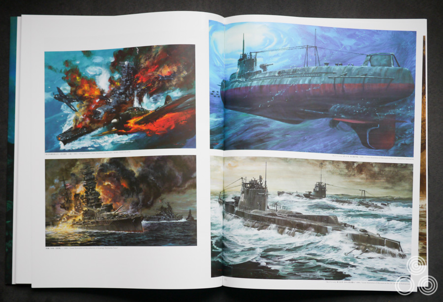 Some of hundreds of war-related paintings that Ohrai worked on for book covers and other uses, such as model kit boxes.
