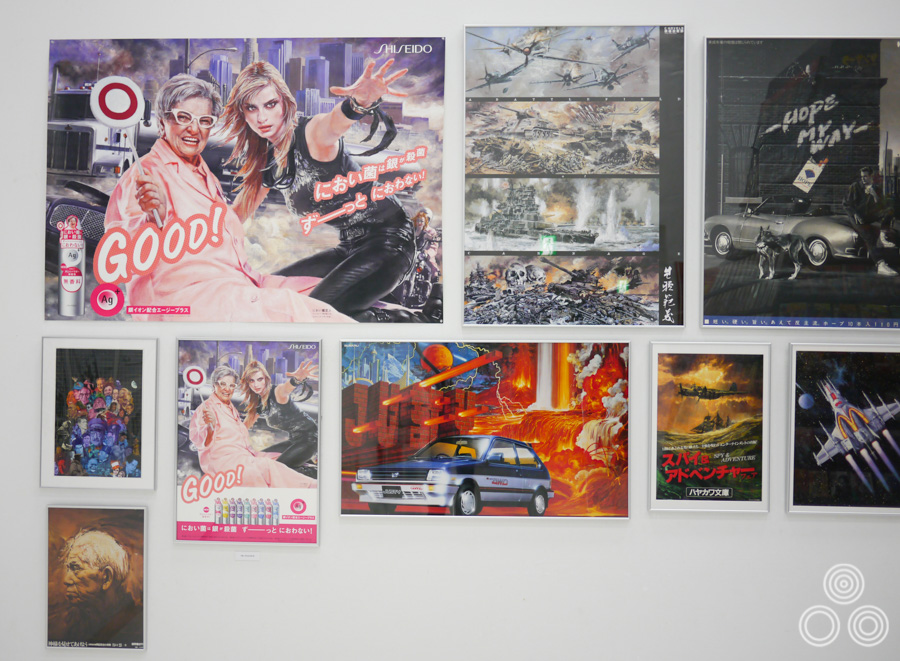 Some of the commercial advertising posters that Noriyoshi Ohrai worked on, displayed in the first room of the exhibition.