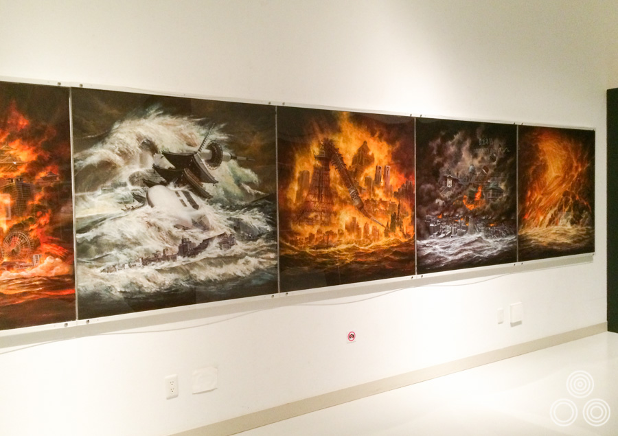 A shot of large paintings that Ohrai produced for the remake of Japan Sinks (2006), each showing the destruction of famous landmarks. Photography was not permitted of the artwork so this shot is a bit cheeky. My apologies to the museum staff!