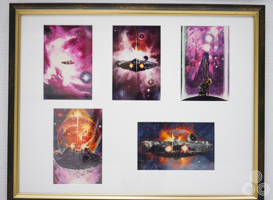 A framed picture containing some poster concepts that Ohrai worked on for Return of the Jedi (1983)