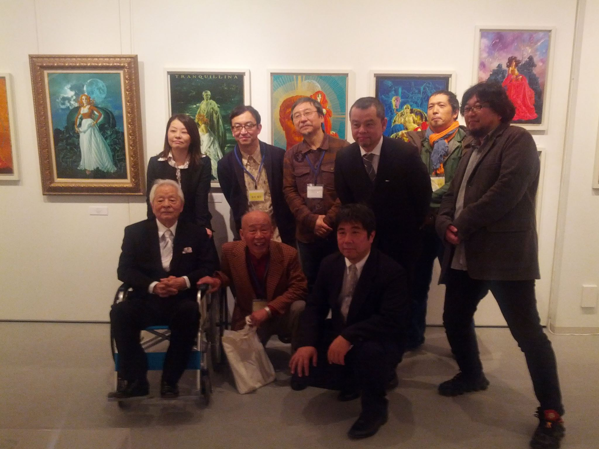 A shot taken from the exhibition's Facebook page which shows a visit from Master Ohrai himself (in the wheelchair) with his son Taro third from the right and exhibition director Tatsuya Ishida centre bottom.