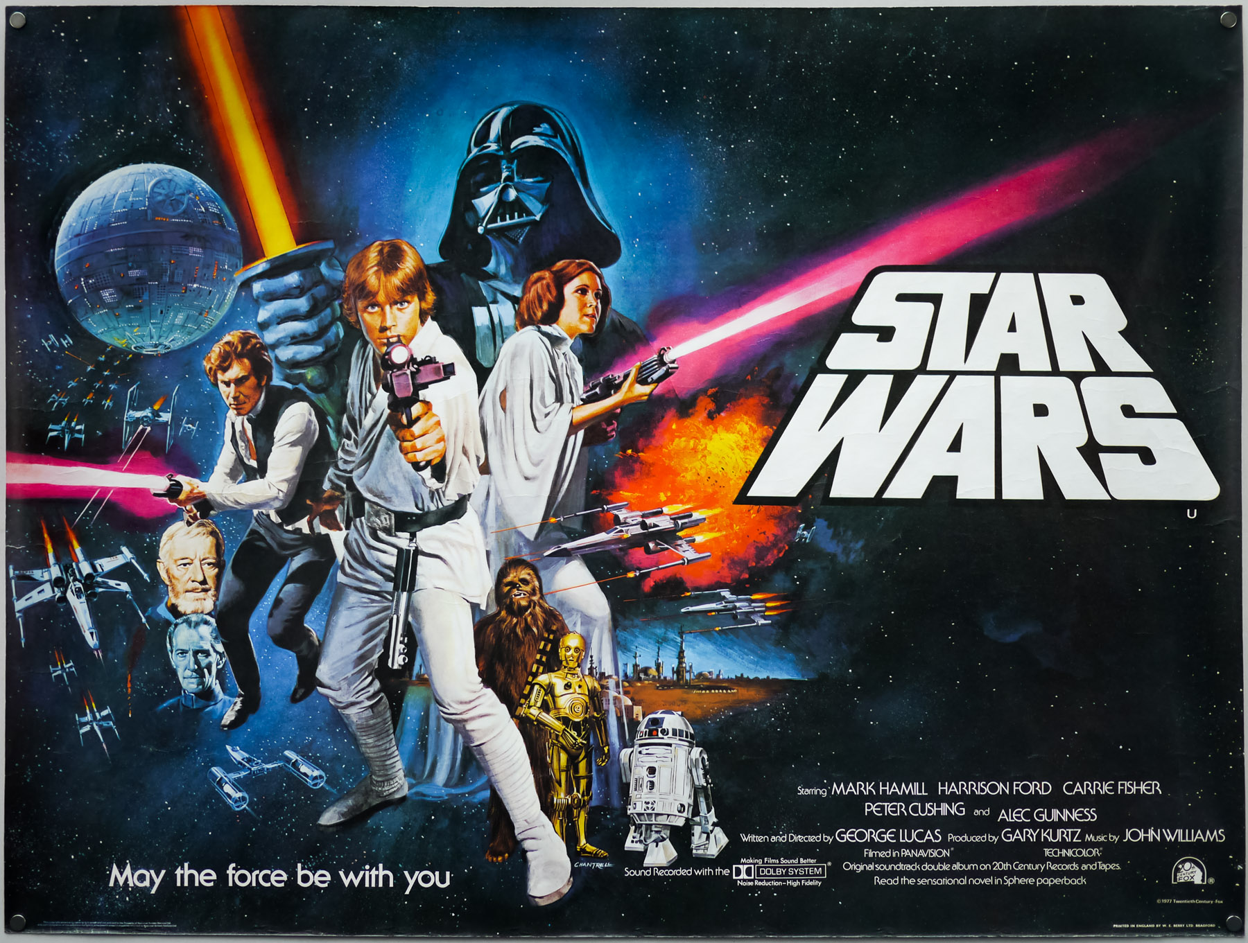 Star Wars – British quad poster with design and artwork by Tom Chantrell (1977)
