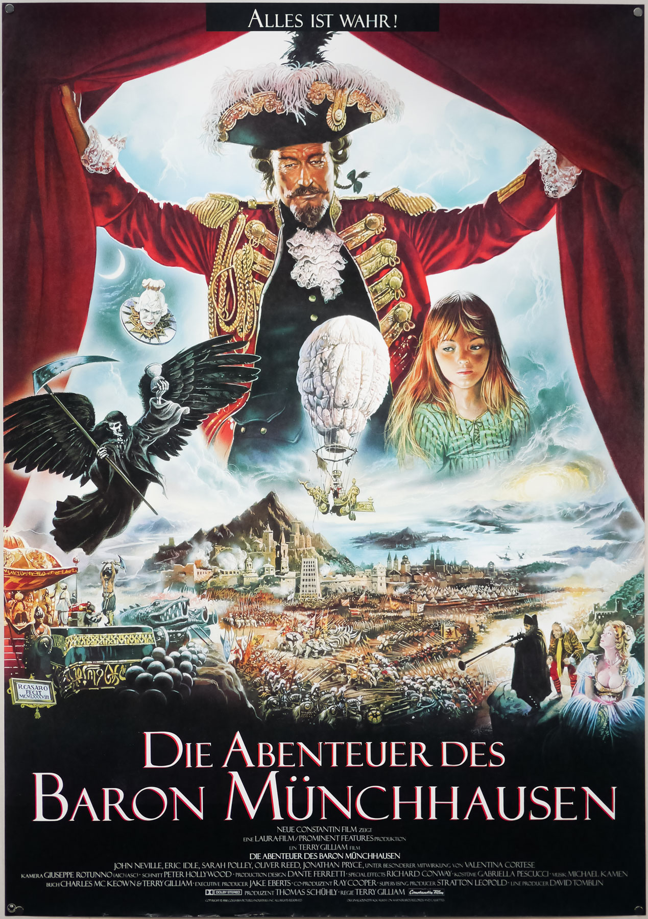 The German poster for Terry Gilliam's The Adventures of Baron Munchausen (1988), designed and painted by Renato Casaro. The artist also painted an international one sheet that was designed by Vic Fair.