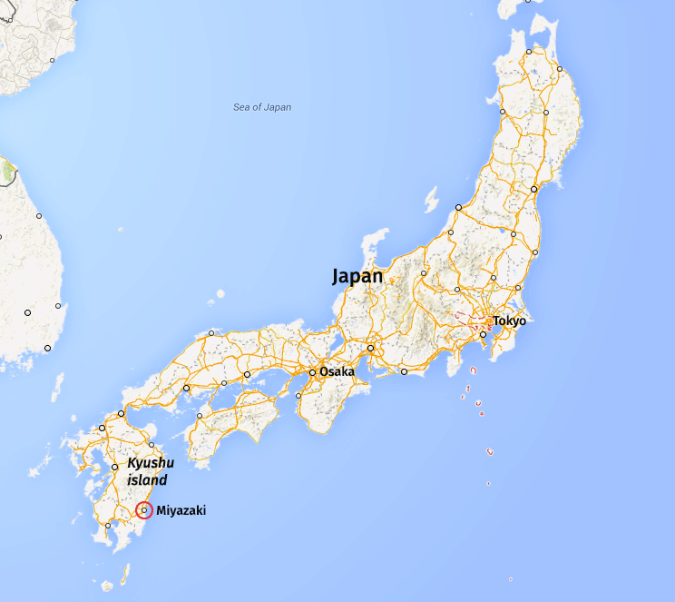 A map of Japan showing the location of Miyazaki on the Island of Kyushu at the bottom of the country.