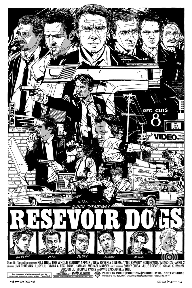 An early version of the design for Tyler's Reservoir Dogs in a portrait format.
