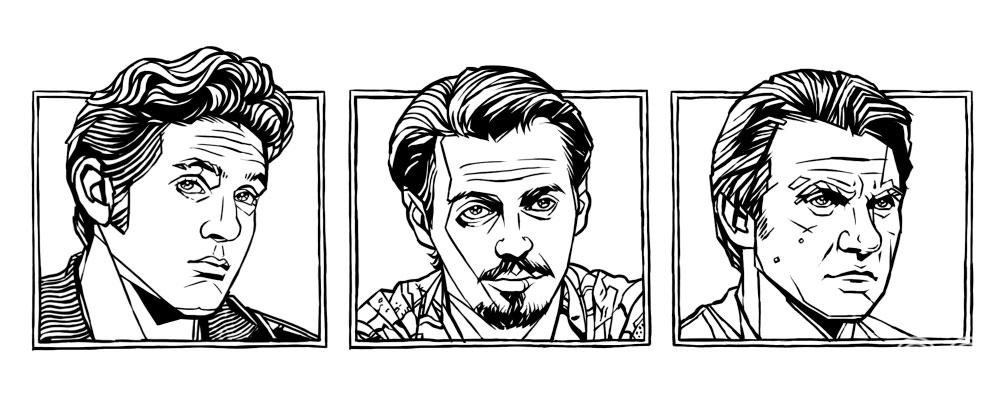 Black and white versions of three of the character portraits.