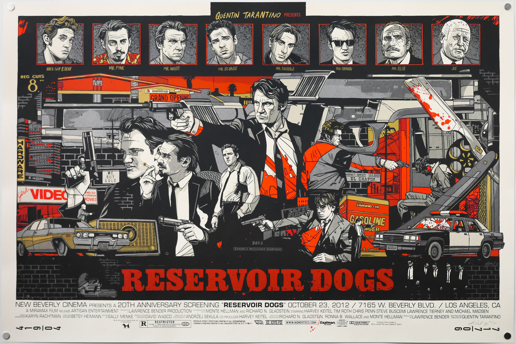 The regular style of Tyler Stout's screen print for Reservoir Dogs, created in 2012